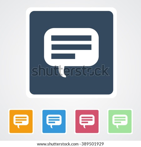 Square flat buttons icon of Comments or Speech bubble. Eps-10. - stock vector