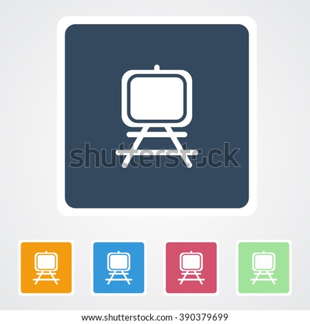 Square flat buttons icon of Easel. Eps-10.