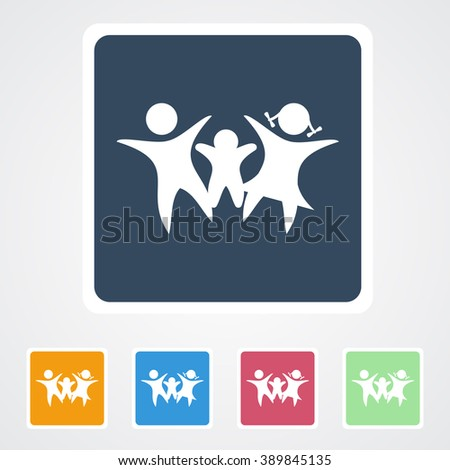 Square flat buttons icon of Family. Eps-10. - stock vector