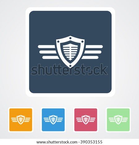 Square flat buttons icon of Shield with Wings. Eps-10.  - stock vector
