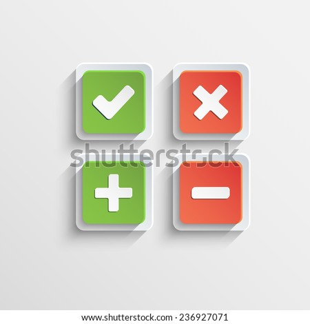 Square flat buttons of validation icons with shadow - stock vector