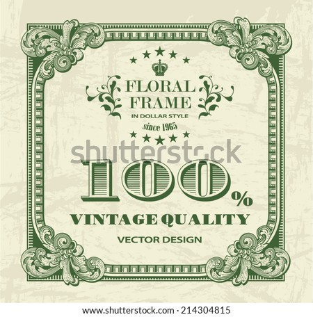Square floral frame in dollar style for retro label design - stock vector
