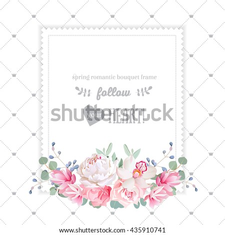 Square floral vector design frame. Orchid, rose, peony, carnation flowers and eucaliptus leaves. Simple backdrop with diagonal lines and small princess crowns. All elements are isolated and editable. - stock vector