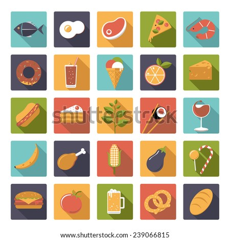 Square food icons vector set. Collection of 25 flat design food and drink vector icons in square shape with rounded corners - stock vector