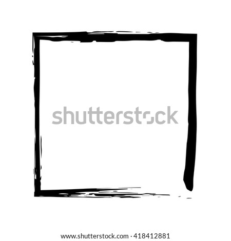 Square frame brush vector grunge paint watercolour ink