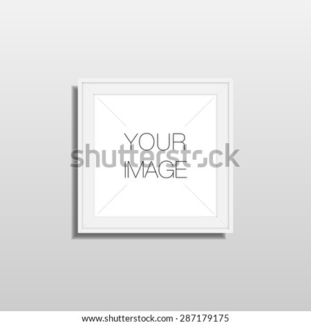 Square frame hanging in front off wall for your content vector stock eps 10 illustration - stock vector