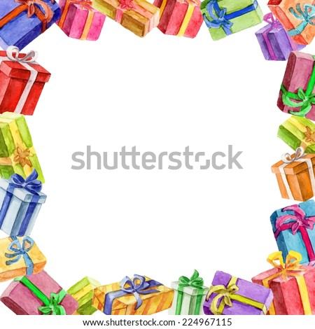 square frame of gifts. watercolor. Vector watercolor. - stock vector