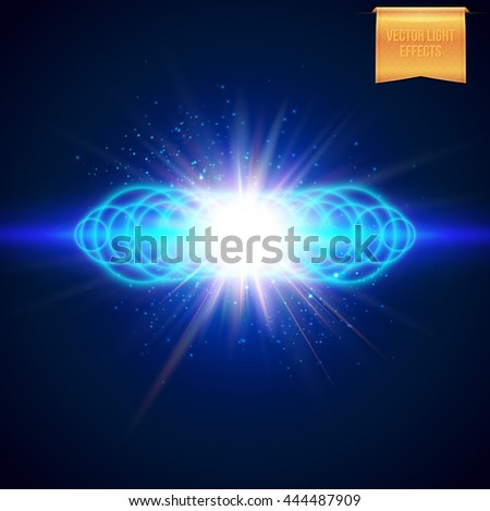 Square full frame multiple ringed blue blast effect with sparkling lights as explosion background - stock vector