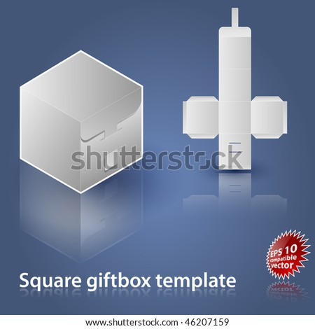 Square giftbox template EPS 10 compatible vector - stock vector