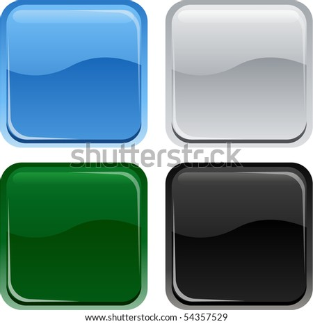 Square glossy buttons - stock vector