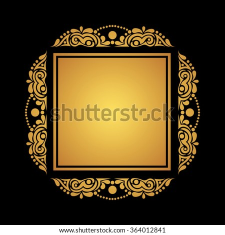 square gold frame on black background for cards invitations postcards vector illustration