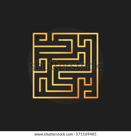 Square golden labyrinth icon - vector maze or labyrinth linear sign on dark background - stock vector