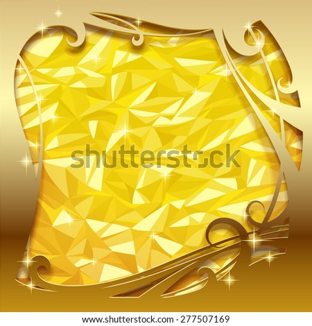 Square greeting card and poster with gold foil texture and sparks. Christmas and New-Year's background with frame. Vector illustration - stock vector