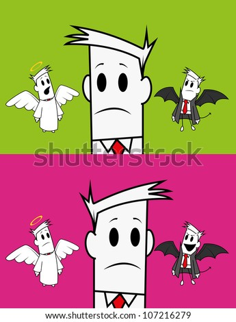 Square guy-angel and devil - stock vector