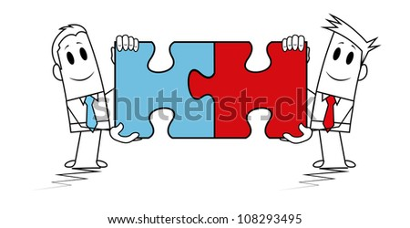Square guy - Puzzle solutions - stock vector