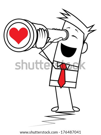 Square Guy - search love - stock vector