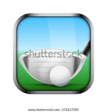 Square icon for golf sports application or games. Golf clubs and ball.  Illustration of sporting field and play button.  - stock vector