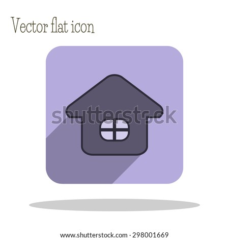 Square icon of home with long shadow. One of set web icons. Flat design style.