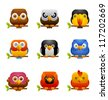 Square icon of various birds - stock photo