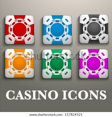 Square icons multicolor casino chips. Bright symbols of gambling. Vector Illustration, editable and isolated. - stock vector
