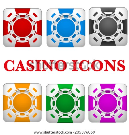 Square icons multicolor casino chips. Bright symbols of gambling. Vector Illustration isolated on white background.