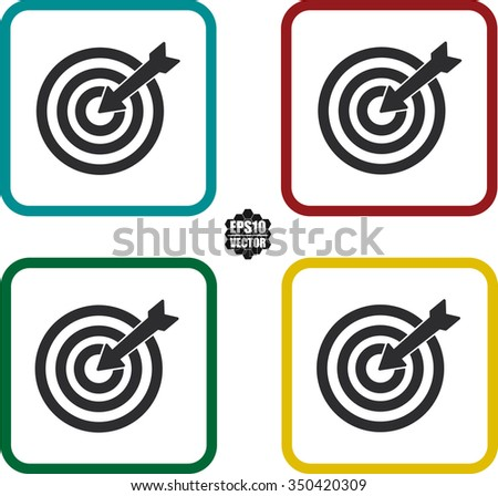 Square icons set target with arrow flat icon for apps and websites. Vector illustration - stock vector