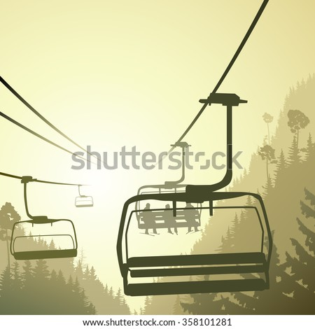 Square illustration mountains coniferous wood with ski lift in green tone. - stock vector