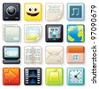Square Menu Illustrations, for your Touchscreen Interface Design - stock vector