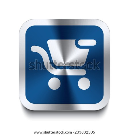 Square metal button with shopping cart remove icon print on top. Part of a blue metal buttons set. - stock vector