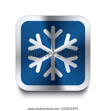 Square metal button with snowflake icon print on top. Part of a blue metal buttons set. - stock vector