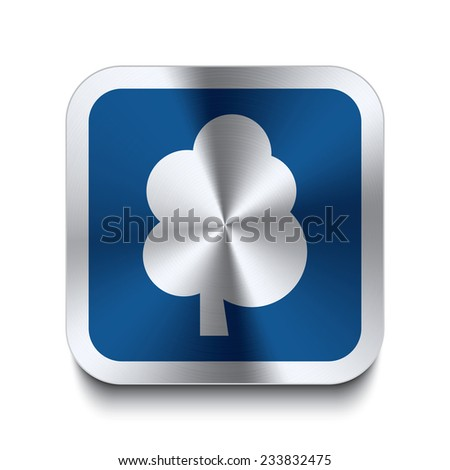 Square metal button with tree icon print on top. Part of a blue metal buttons set. - stock vector