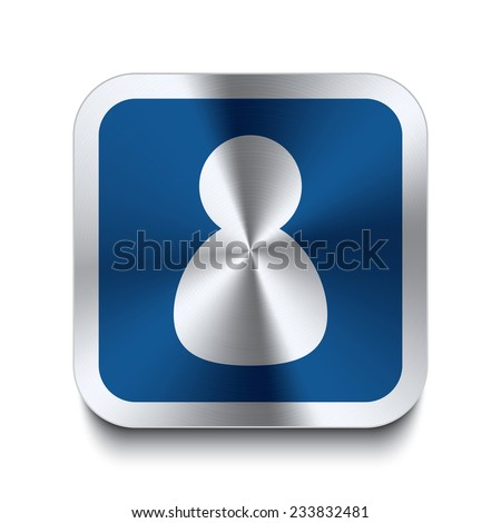 Square metal button with user icon print on top. Part of a blue metal buttons set. - stock vector