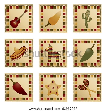 square mexican decorations with motifs isolated on white - stock vector