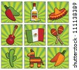 square mexican icons with motifs, isolated on white - stock vector