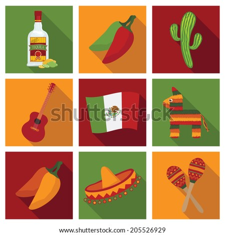 square mexican themed icons with long shadows, isolated on white - stock vector
