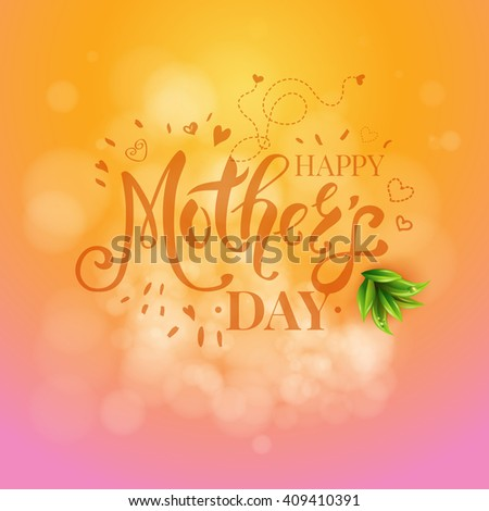 Square mothers day design with little flying hearts and green leaves over orange and pink obscured background - stock vector