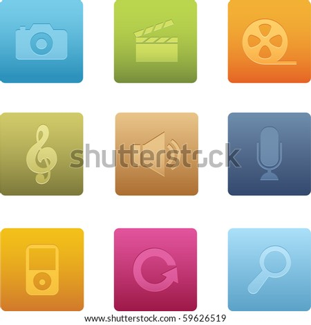 Square Multimedia Icons - stock vector