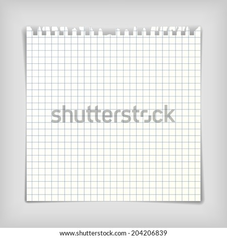 Square note paper sheet with squares, realistic vector illustration - stock vector