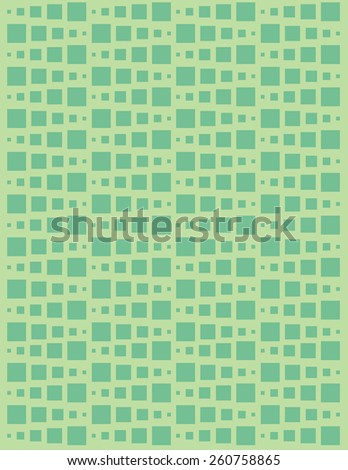 Square pattern over green color background - stock vector
