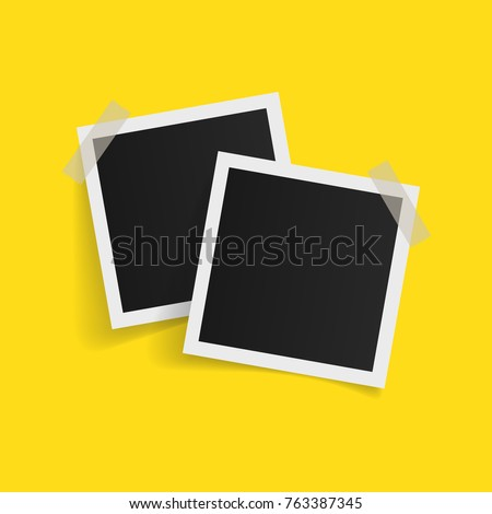 Square photo frames on sticky tape on white background. Vector illustration.