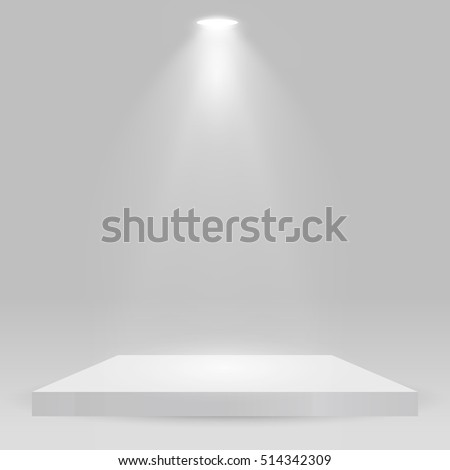 Square podium, pedestal or platform illuminated by spotlights on white background. Stage with scenic lights. Vector illustration.