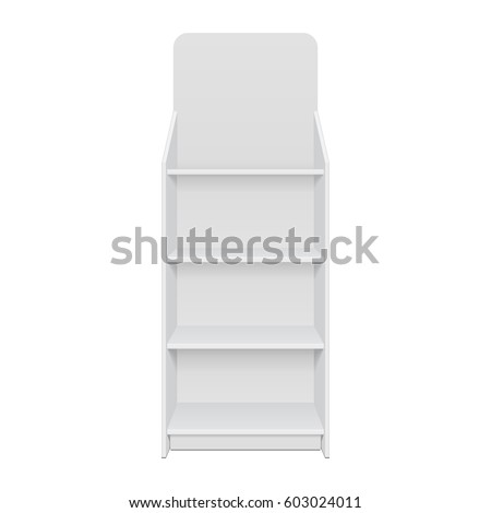 Square POS POI Floor Showcase Display Rack Shelves For Supermarket. Front  View 3D. Illustration