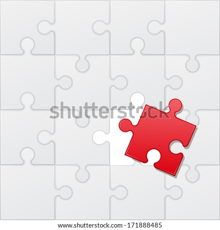 square puzzle red and white vector illustration - stock vector