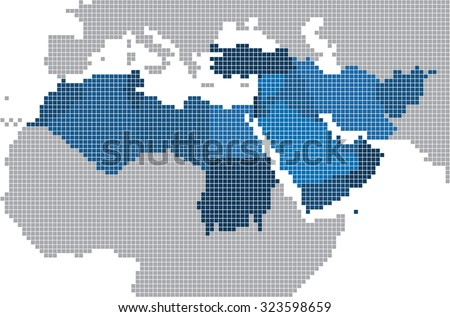 Square shape of Middle east and nearby countries map. Vector illustration - stock vector