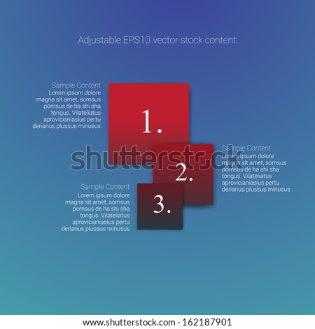 Square shape red blue edition of an abstract geometric vector simple menu with three elements for ranking, web design, brochure, infographics, listing or touchscreen layout for numbering & navigation - stock vector