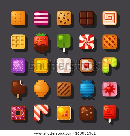 square shaped dessert icon set - stock vector