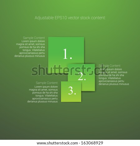 Square shaped green edition of an abstract geometric vector simple menu with three elements for ranking, web design, brochure, infographics, listing or touchscreen layout for numbering & navigation - stock vector