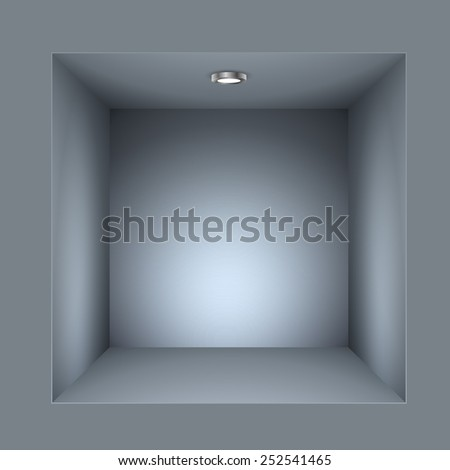 Square shelf illuminated vector template. - stock vector