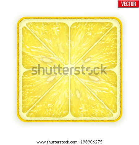 Square slice of lemon. Juicy fruit icon. Isolated on white background. Vector Illustration. - stock vector