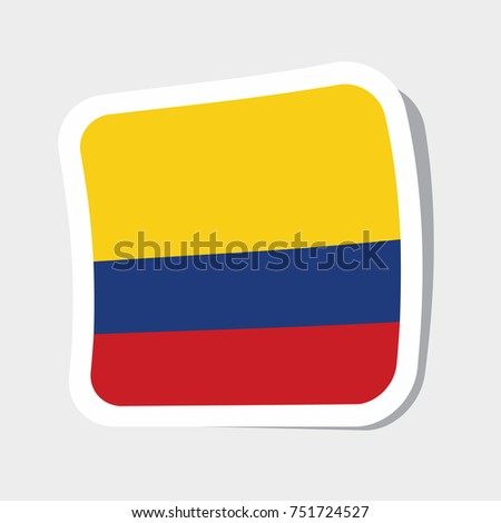 Square sticker with flag of colombia high quality flag of colombia square glossy icons
